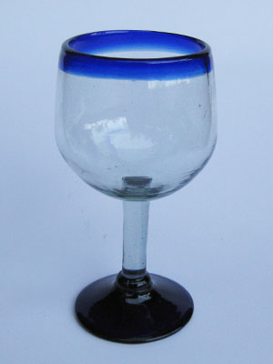 Wholesale MEXICAN GLASSWARE / 'Cobalt Blue Rim' balloon wine glasses  / These balloon wine glasses are the largest of their class, you will enjoy them as they capture the bouquet of a fine red wine.